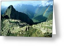 Rainbow Over Machu Picchu Greeting Card by James Brunker
