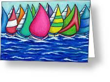 Rainbow Regatta Greeting Card by Lisa  Lorenz