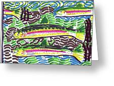 Rainbow Trout School Greeting Card by Robert Wolverton Jr