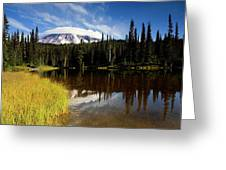 Rainier Capped Greeting Card by Mike  Dawson