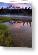 Rainier Sunrise Cap Greeting Card by Mike  Dawson