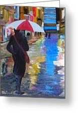 Rainy New York Greeting Card by Michael Lee