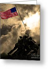 Raising The Flag At Iwo Jima 20130211 Greeting Card by Wingsdomain Art and Photography