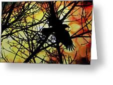 Raven Greeting Card by Bob Orsillo