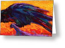 Raven Greeting Card by Marion Rose