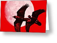 Ravens Of The Moon . Red Square Greeting Card by Wingsdomain Art and Photography