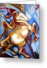 Rearing Horse Greeting Card by Leyla Munteanu