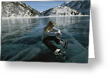 Rebecca Quinton Laces Up Her Ice Skates Greeting Card by Michael S. Quinton