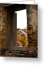 Reclining Buddha View Through A Window Greeting Card by Ulrich Schade
