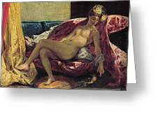 Reclining Odalisque Greeting Card by Ferdinand Victor Eugene Delacroix