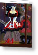 Red And Black Jester Costume Greeting Card by Cheryl Whitehall