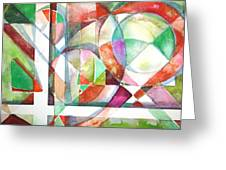 Red and Green Greeting Card by Mindy Newman