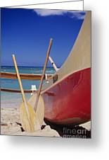 Red And Yellow Canoe Greeting Card by Joss - Printscapes