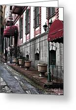 Red Awning Greeting Card by John Rizzuto