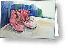 Red Boots Greeting Card by Becky Kim