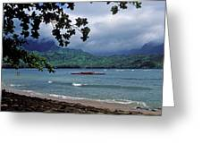 Red Canoe on Hanalei Bay Greeting Card by Kathy Yates