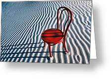 Red Chair In Sand Greeting Card by Garry Gay