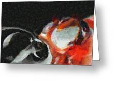 Red Circle Abstract Greeting Card by Russ Harris