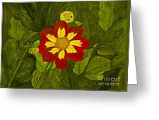 Red Dahlia Greeting Card by Louise Magno
