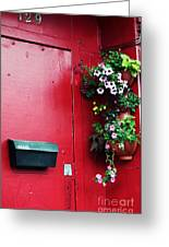 Red Door In Montreal Greeting Card by John Rizzuto