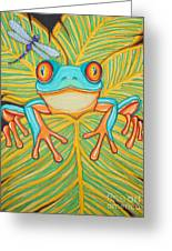Red Eyed Tree Frog And Dragonfly Greeting Card by Nick Gustafson