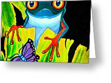 Red Eyed Tree Frog and Purple Butterfly Greeting Card by Nick Gustafson