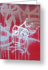 Red Graffiti Greeting Card by Anna Villarreal Garbis