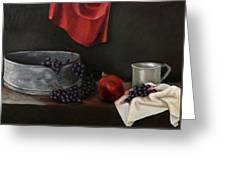 Red Grapes Greeting Card by Raimonda Jatkeviciute-Kasparaviciene
