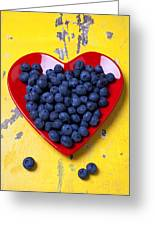 Red Heart Plate With Blueberries Greeting Card by Garry Gay