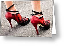 Red Heels Greeting Card by Marion McCristall