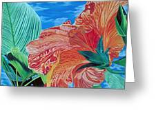 Red Hibiscus And Palms Greeting Card by Stephen Mack