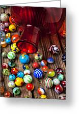Red Jar With Marbles Greeting Card by Garry Gay
