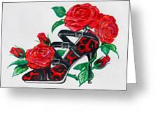 Red Leopard Roses Greeting Card by Karon Melillo DeVega