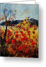 Red Poppies In Provence  Greeting Card by Pol Ledent