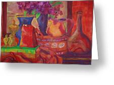 Red Purse On Green Book Greeting Card by Blenda Studio