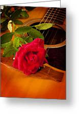 Red Rose Natural Acoustic Guitar Greeting Card by M K  Miller