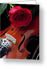 Red Rose With Violin Greeting Card by Garry Gay
