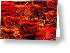 Red Shred Greeting Card by Ron Bissett