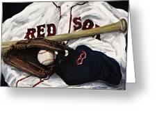 Red Sox Number Nine Greeting Card by Jack Skinner