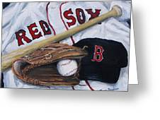 Red Sox Number six Greeting Card by Jack Skinner