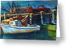 Red Truck On Old Morro Bay Pier Greeting Card by Therese Fowler-Bailey