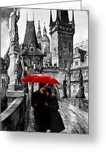 Red Umbrella Greeting Card by Yuriy  Shevchuk