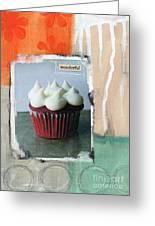 Red Velvet Cupcake Greeting Card by Linda Woods