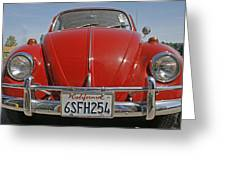Red Volkswagen Beetle Greeting Card by Nomad Art And  Design