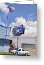 Red White And Blue Greeting Card by Russell Pierce