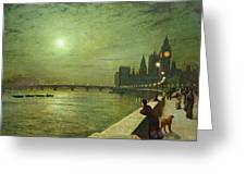 Reflections On The Thames Greeting Card by John Atkinson Grimshaw