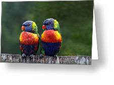 Rendezvous In The Rain Greeting Card by Lesley Smitheringale