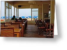 Restaurant On A Beach In Tel Aviv Israel Greeting Card by Zalman Lazkowicz