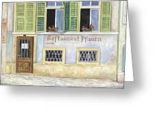 Restaurant Pfauen Greeting Card by Scott Nelson