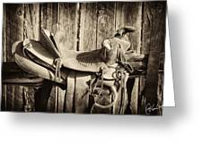 Retired Saddle Greeting Card by Christine Hauber